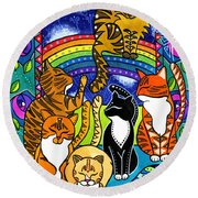Meet Me At The Rainbow Bridge - Cat Painting Round Beach Towel
