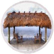 Meet Me Under The Chickee Hut Round Beach Towel