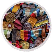 Round Beach Towel featuring the photograph Meet Medals by Christopher Holmes