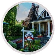 Round Beach Towel featuring the photograph Meet You At Sally's - Chesapeake Art by Jordan Blackstone
