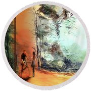 Round Beach Towel featuring the painting Meeting On A Date by Anil Nene