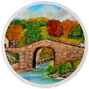 Meeting On The Old Bridge Round Beach Towel
