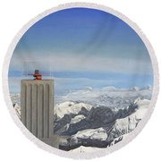 Meeting Table Oil On Canvas Round Beach Towel
