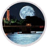 Mega Super Moon Rising Over Jupiter Lighthouse Round Beach Towel