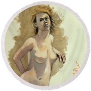 Round Beach Towel featuring the painting Megan by Ray Agius