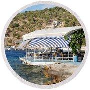 Meganissi Beach Taverna Round Beach Towel