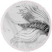Round Beach Towel featuring the drawing Megic Fish 3 by James Lanigan Thompson MFA