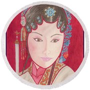 Mei Ling -- Portrait Of Woman From Chinese Opera Round Beach Towel