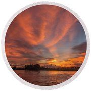 Round Beach Towel featuring the photograph Mekong Sunset 3 by Werner Padarin