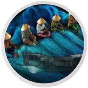 Round Beach Towel featuring the painting Mekong Weavers by Mojo Mendiola