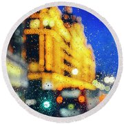 Melancholic London Lights  Round Beach Towel