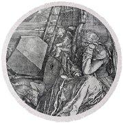 Melancholy Engraved By Albrecht Durer Round Beach Towel