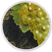 Melange Green Grapes Round Beach Towel