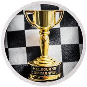Melbourne Cup Pin On Mens Chequered Fashion Tie Round Beach Towel