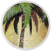 Mellow Palm I Round Beach Towel by Kristen Abrahamson