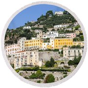 Mellow Yellow Buildings Round Beach Towel