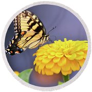 Mellow Yellow Round Beach Towel by Kathy Kelly
