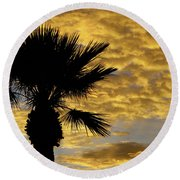 Mellow Yellow Sunset Round Beach Towel