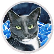Melo - Blue Tuxedo Cat Painting Round Beach Towel