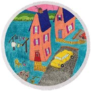 Melon Houses Round Beach Towel