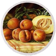 Melons, Peaches And Pineapple Round Beach Towel