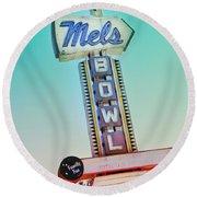 Mels Bowl Retro Sign Round Beach Towel