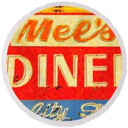 Round Beach Towel featuring the photograph Mels Diner by Wingsdomain Art and Photography
