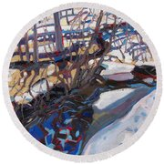 Melt Water And Ice At The Forest Edge Round Beach Towel
