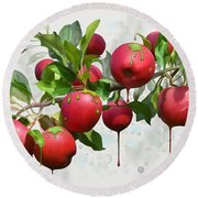 Round Beach Towel featuring the digital art Melting Apples by Ivana Westin