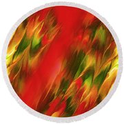 Melting In Red Round Beach Towel