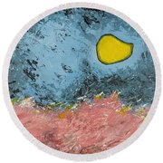 Round Beach Towel featuring the painting Melting Moon Over Drifting Sand Dunes by Ben Gertsberg