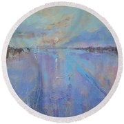 Round Beach Towel featuring the painting Melting Reflections by Laura Lee Zanghetti