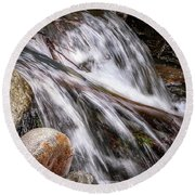 Melting Snow Falls Round Beach Towel by Elaine Malott