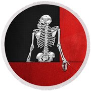 Memento Mori - Skeleton On Red And Black  Round Beach Towel
