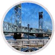 Memorial Bridge Mbwc Round Beach Towel