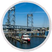 Memorial Bridge Portsmouth Round Beach Towel