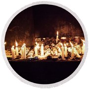Memorial Candles Round Beach Towel
