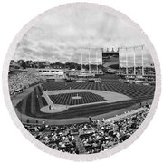 Memorial Day At Kauffman Stadium Bw Round Beach Towel