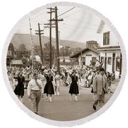 Memorial Day Parade Ashley Pa With Train Station And The Huber Colliery In Background 1955 Round Beach Towel
