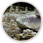 Memorial Stacked Stones Round Beach Towel