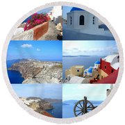 Round Beach Towel featuring the photograph Memories From Santorini by Ana Maria Edulescu
