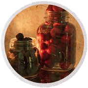 Memories Of Jams, Preserves And Jellies  Round Beach Towel by Sherry Hallemeier