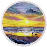 Memories Of My Father Round Beach Towel