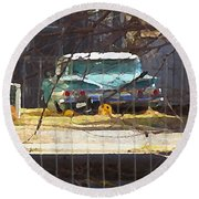 Memories Of Old Blue, A Car In Shantytown.  Round Beach Towel
