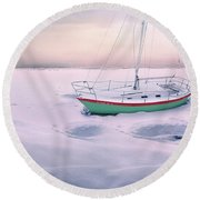 Round Beach Towel featuring the photograph Memories Of Seasons Past - Prisoner Of Ice by John Poon