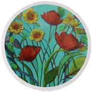Memories Of The Meadow Round Beach Towel