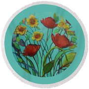 Memories Of The Meadow Round Beach Towel by Mary Wolf