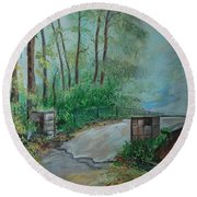 Round Beach Towel featuring the painting Memory Bridge by Leslie Allen