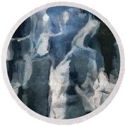 Memory Hotel - Dark Canvas Abstract Art Round Beach Towel