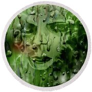 Round Beach Towel featuring the digital art Memory In The Rain by Darren Cannell